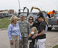 From left, Oklahoma Gov. Mary Fallin and Gen. Frank J. Grass, the chief of the National Guard Bureau, speak with a student from the Plaza Towers Elementary School in Moore, Okla., May 28, 2013, where seven 130528-Z-VF620-4063.jpg