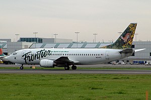 Frontier Airlines -  A Frontier Boeing 737-300. Frontier retired its last 737 in 2005.