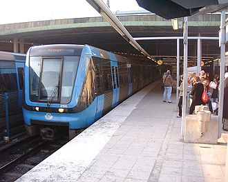 Public transport in Stockholm - A metro train at Gamla stan station