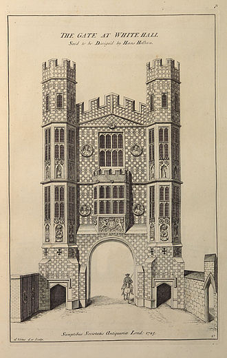 Society of Antiquaries of London - Vertue, 'The Gate at Whitehall' (Holbein Gate) in Vetusta Monumenta Vol.1, 1747 (1826).