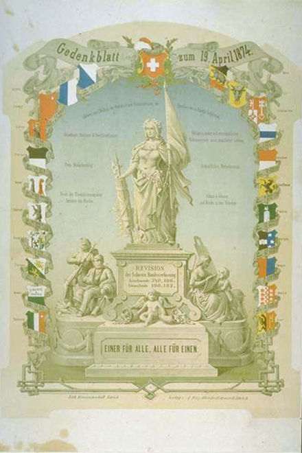 September 12: The Swiss Confederation reconstitutes itself as a federal republic. Gedenkblatt 1874.jpg