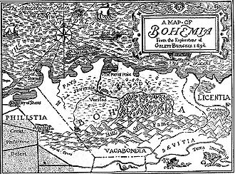 "Bohemianism - Gelett Burgess drew this fanciful ""Map of Bohemia"" for The Lark, March 1, 1896"