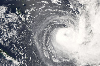 Cyclone Gene Category 3 South Pacific cyclone in 2008