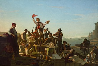 Düsseldorf school of painting - Jolly Flatboatmen in Port, George Caleb Bingham, 1857