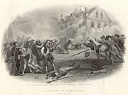 Black and white print shows American soldiers shooting at a two story building as its defenders fire back.