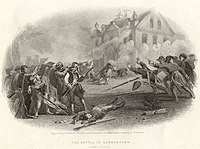 Print of soldiers firing at a two story house while puffs of smoke indicate that those in the house are shooting back