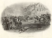 A black & white print depicting a battle near a house in the background