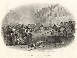 Print shows soldiers firing at a house while others in the house fire back.