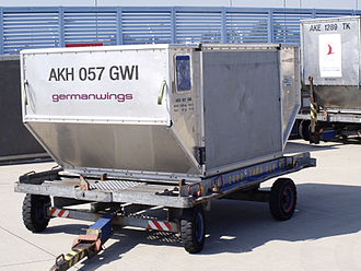 "Shipping container - A ""LD3-45"" unit load device on a trailer."