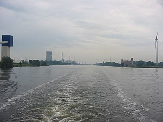 Port of Ghent - Ghent–Terneuzen Canal, southwards view from a Ship near Arcelor Gent