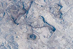 Gillette, Wyoming - Coal mines near Gillette, from ISS, 2015
