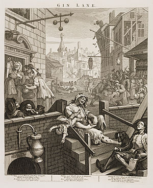 St Giles, London - Gin Lane by William Hogarth (1751)