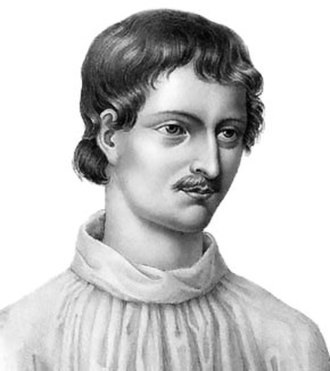 "Giordano Bruno - Modern portrait based on a woodcut from ""Livre du recteur"", 1578"