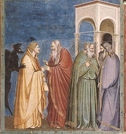 Giotto - Scrovegni - -28- - Judas Receiving Payment for his Betrayal.jpg