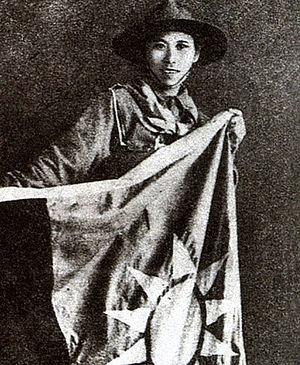 Defense of Sihang Warehouse - Yang Huimin with the ROC flag.