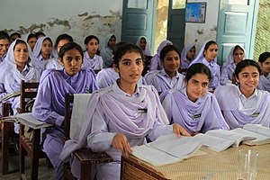 Women in Islam - Pakistani school girls in Khyber Pakhtunkhwa.