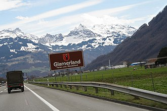 A3 motorway (Switzerland) - Glarner Alps as seen from the A3 motorway, Canton of Glarus, Switzerland.