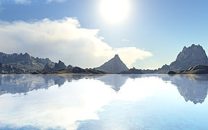 Terragen - A highly reflective lake, showing off the possibility for photorealistic renders in Terragen Classic