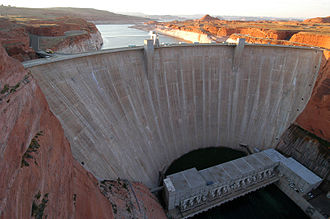 Colorado River Storage Project - Glen Canyon Dam, with Lake Powell in the background.