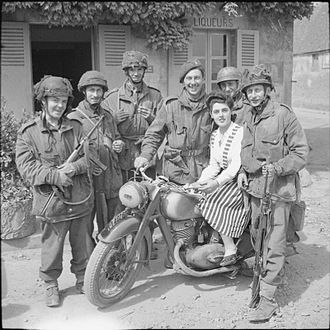 Operation Mallard - Glider troops and a French civilian, 15 June 1944.