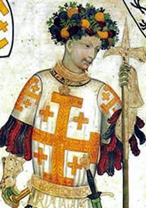 Jerusalem cross - Godfrey of Bouillon as depicted in a late medieval fresco (Castello della Manta, Piedmont, Italy, c. 1420.)