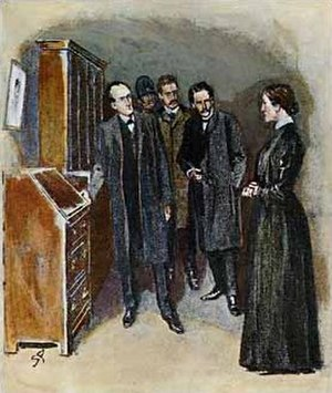 The Adventure of the Golden Pince-Nez - Holmes asking about a mark on the bureau, 1904 illustration by Sidney Paget