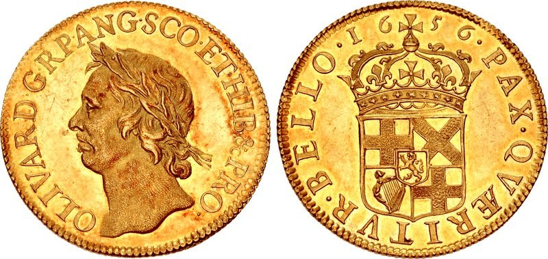 Gold coin of Oliver Cromwell