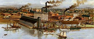 Toronto - The Gooderham and Worts buildings c. 19th century. The distillery became the world's largest whiskey factory by the 1860s.