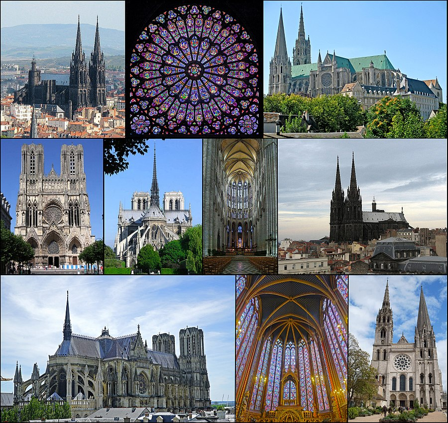 Gothic architecture: Top row: Clermont-Ferrand Cathedral (Rayonnant Gothic and Gothic Revival), North Rose window of Notre-Dame de Paris (Rayonnant Gothic), Chartres Cathedral (High Gothic). Middle row: Reims Cathedral (High Gothic), Notre-Dame de Paris (Early and High Gothic), High choir of Beauvais Cathedral (Late Gothic), Clermont-Ferrand Cathedral (Rayonnant Gothic and Gothic Revival). Lower Row: Reims Cathedral, (High Gothic), Sainte Chapelle (Rayonnant Gothic), Chartres Cathedral (Early Gothic facade).