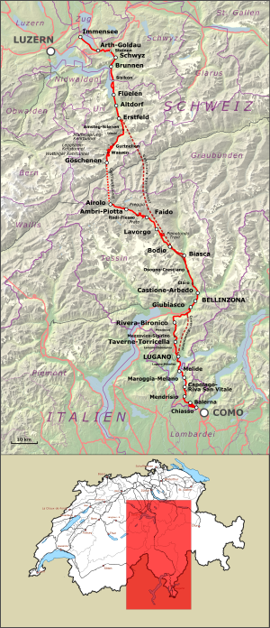 Gotthard railway - Map of the Gotthard railway