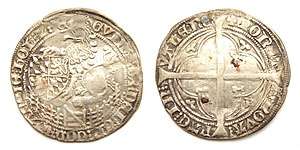 "William II, Duke of Bavaria - Holland, double groat or ""Tuin"", struck in Valenciennes under William of Bavaria as William VI, Count of Holland."