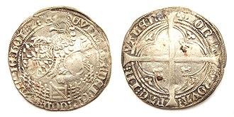 "William II, Duke of Bavaria - Holland, double groat or ""Tuin"", struck in Valenciennes under William of Bavaria as William VI, Count of Holland."