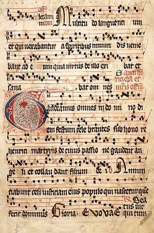 Church music - The Introit Gaudeamus omnes, scripted in square notation in the 14th–15th century Graduale Aboense, honours Henry, patron saint of Finland