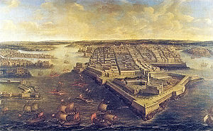 Fortifications of Valletta - View of Valletta and the Grand Harbour in 1801