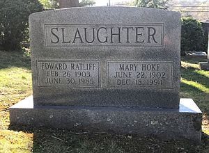 Edward Slaughter - Slaughter's gravestone at the University of Virginia Cemetery in Charlottesville, Virginia.