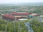 Great Wolf Lodge next door, viewed from the park's 1/3 scale replica of the Eiffel Tower. Taken April 28, 2012.