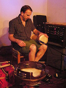 Gilmore setting up to perform with Steve Fisk and Peter Randlette (not shown) at the 14th Olympia Experimental Music Festival, 2008.