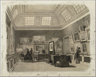 Teylers Eerste Schilderijenzaal - Johan Conrad Greive, Interior of Paintings Gallery I, drawing, 1862.