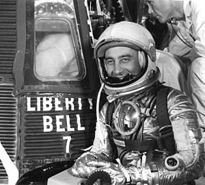 Mitchell, Indiana - U.S. astronaut Gus Grissom, native of Mitchell, Indiana, in front of the Liberty Bell 7 capsule, in which he became the second American to fly in outer space