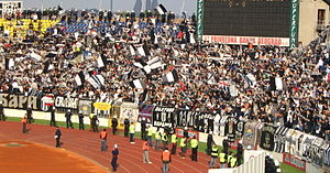 Partizan's fans, the Grobari, celebrating the club's 19th league title won in 2005.