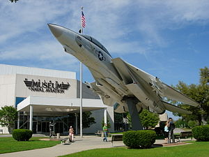 National Naval Aviation Museum - F-14A Tomcat in front of the National Naval Aviation Museum (front-left view)