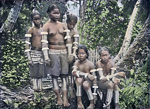 Bidayuh - A group of Land Dayak women, possibly from Batang Sadong, Sarawak, Malaysia, 1910.
