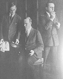 Guy Bolton, P G Wodehouse and Jerome Kern at the Princess Theatre in 1916.jpg