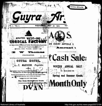Guyra Argus - Front cover of the Guyra Argus on 30 July 1902