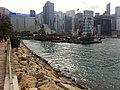 HK Wan Chai waterfront promenade stone rock view Victoria Harbourt n construction site Nov-2012.JPG