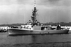 HMCS Restigouche (DDE 257) - Restigouche in 1992, with Phalanx CIWS and Harpoon missile launchers aft.