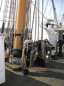 HMS Gannet 1878 rigging at base of mast.JPG