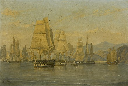 HMS Wellesley and the British squadron sailing from Hong Kong for the attack on Amoy in 1841. HMS Wellesley and Squadron in Hong Kong.jpg