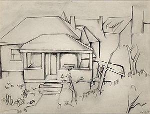 Stefan Hirsch - House by Stefan Hirsch, 1920, Graphite on paper, 7⅝ x 9⅞ inches