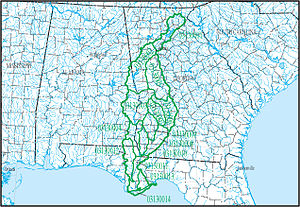 ACF River Basin - Map of HUC031300 - Apalachicola sub-region and basin in the South Atlantic-Gulf Water Resource Region, showing the 14 sub-basins in the basin.
